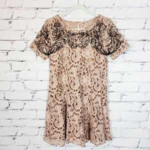 Free People Sheer Brown and Black Lace Dress